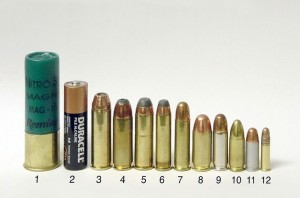 Different calibers of handgun ammunition