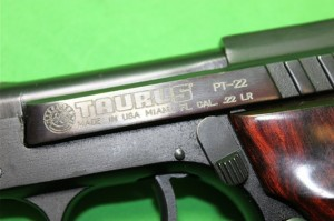 A semi-automatic pistol's caliber stamp