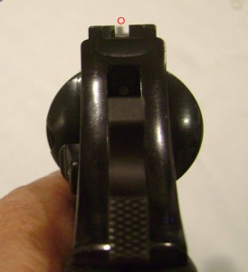 Front sight is too low and too far to the left
