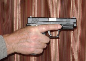 Shooting hand grip for semi-automatic (trigger finger view)
